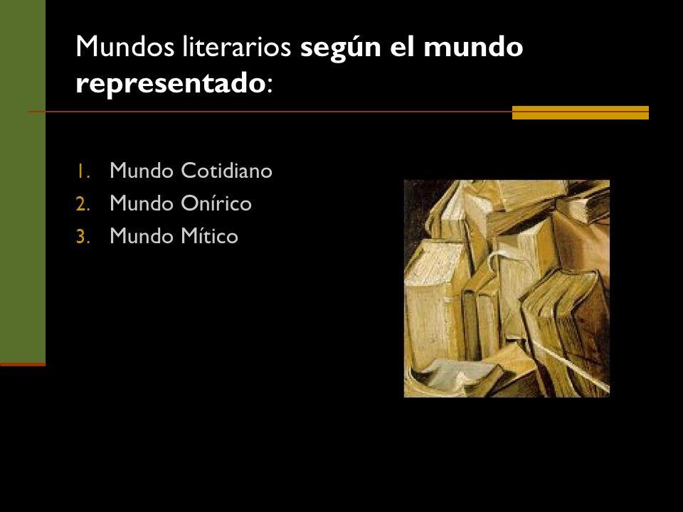 Mundos literarios según el mundo representado: 1. Mundo Cotidiano 2. Mundo Onírico 3. Mundo Mítico