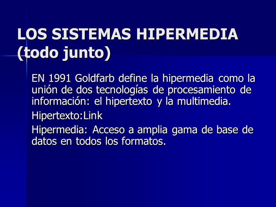 LOS SISTEMAS HIPERMEDIA (todo junto) EN 1991 Goldfarb define la hipermedia como la unión de dos tecnologías de procesamiento de información: el hipert