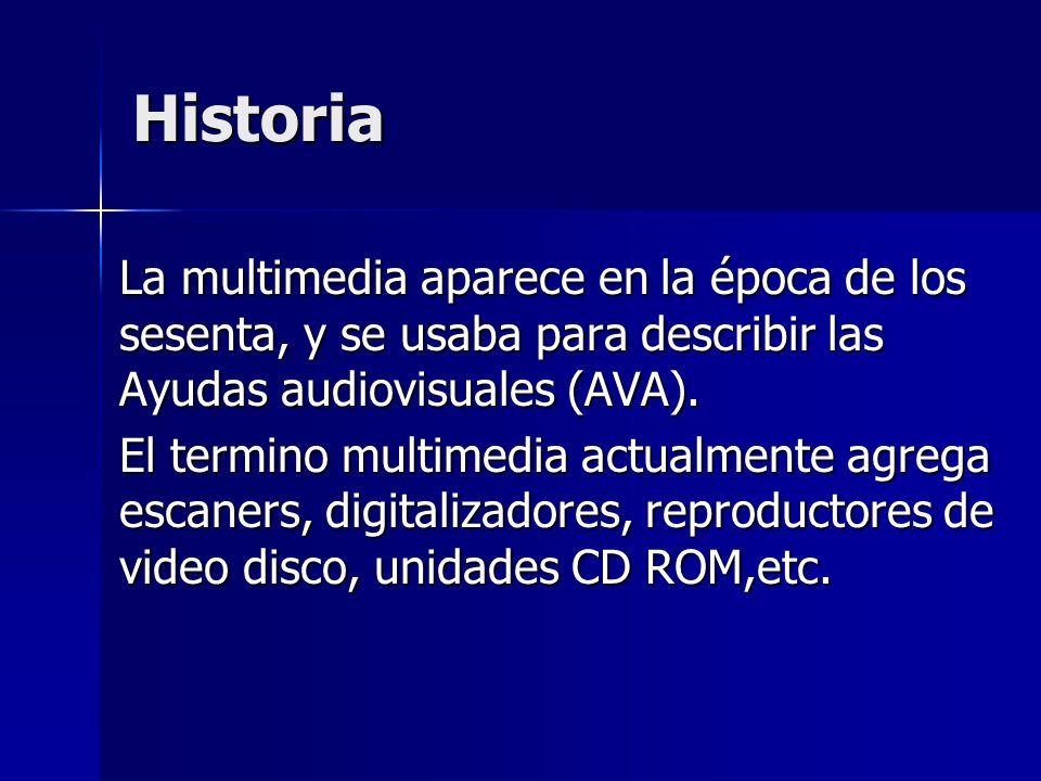 Historia La multimedia aparece en la época de los sesenta, y se usaba para describir las Ayudas audiovisuales (AVA). El termino multimedia actualmente