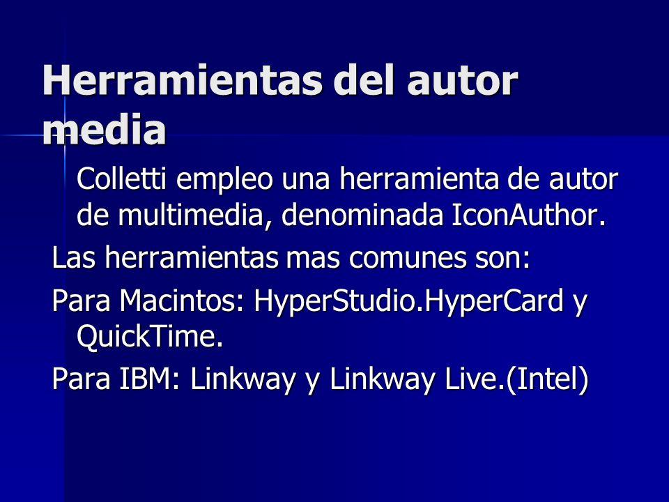 Herramientas del autor media Colletti empleo una herramienta de autor de multimedia, denominada IconAuthor. Las herramientas mas comunes son: Para Mac
