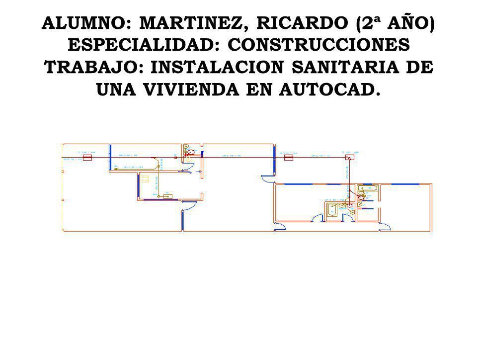 ALUMNO: MARTINEZ, RICARDO (2ª AÑO) ESPECIALIDAD: CONSTRUCCIONES TRABAJO: INSTALACION SANITARIA DE UNA VIVIENDA EN AUTOCAD.