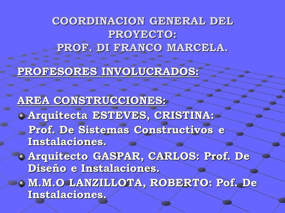 COORDINACION GENERAL DEL PROYECTO: PROF. DI FRANCO MARCELA. PROFESORES INVOLUCRADOS: AREA CONSTRUCCIONES: Arquitecta ESTEVES, CRISTINA: Prof. De Siste