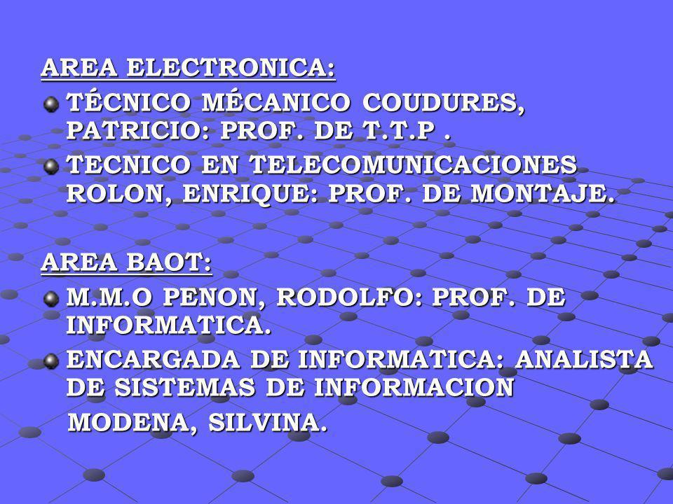 AREA ELECTRONICA: TÉCNICO MÉCANICO COUDURES, PATRICIO: PROF. DE T.T.P. TECNICO EN TELECOMUNICACIONES ROLON, ENRIQUE: PROF. DE MONTAJE. AREA BAOT: M.M.