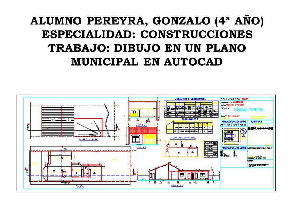 ALUMNO PEREYRA, GONZALO ESPECIALIDAD: CONSTRUCCIONES TRABAJO: PLANO DE INSTALACIONES EN AUTOCAD