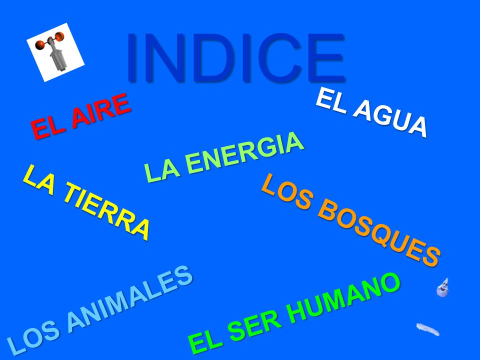 INDICE EL AIRE EL AIRE EL AGUA EL AGUA LA TIERRA LA TIERRA LA ENERGIA LA ENERGIA LOS BOSQUES LOS BOSQUES LOS ANIMALES LOS ANIMALES EL SER HUMANO EL SE
