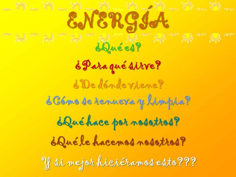 ENERGÍA ¿Qué es? ¿Qué es? ¿Para qué sirve? ¿Para qué sirve? ¿Cómo se renueva y limpia? ¿Cómo se renueva y limpia? ¿De dónde viene? ¿De dónde viene? ¿Q