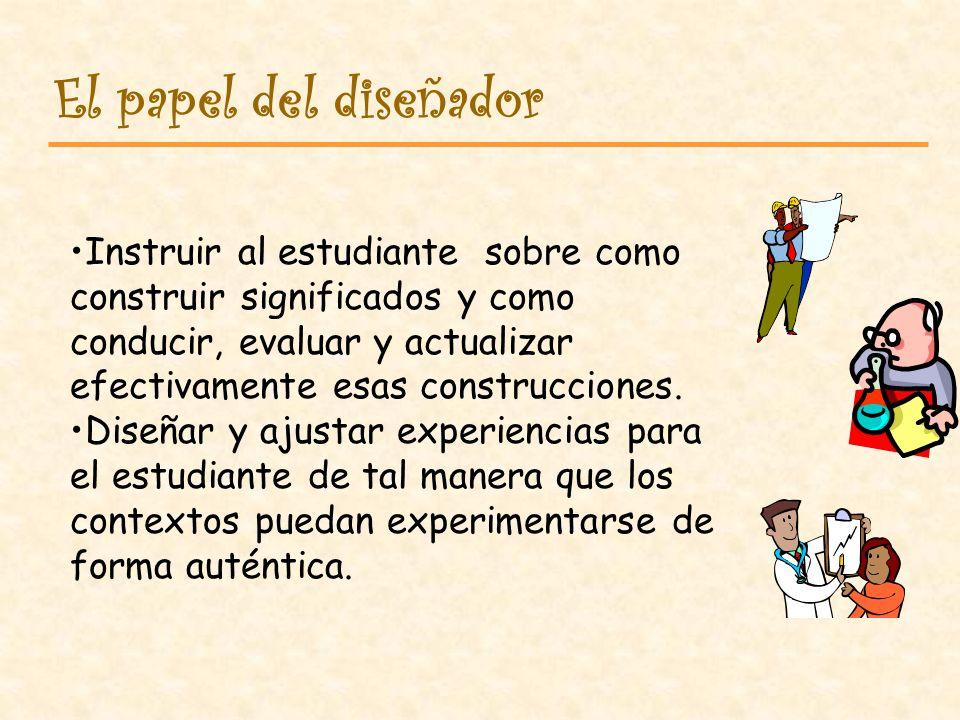 Mostrar al estudiante como se construye el conocimiento (PROCESO). Promover la colaboración. Buscar la autoselección. Se debe estructura la instrucció