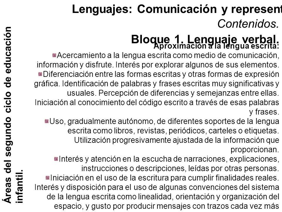 Lenguajes: Comunicación y representación. Áreas del segundo ciclo de educación infantil. Contenidos. Bloque 1. Lenguaje verbal. Aproximación a la leng