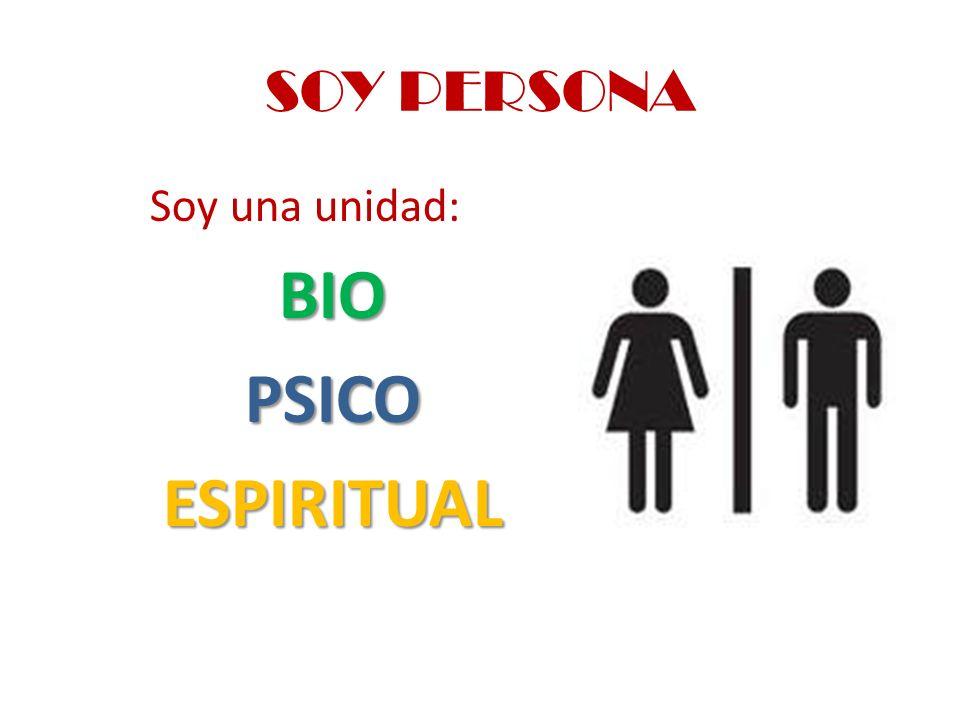 SOY PERSONA Soy una unidad:BIOPSICOESPIRITUAL