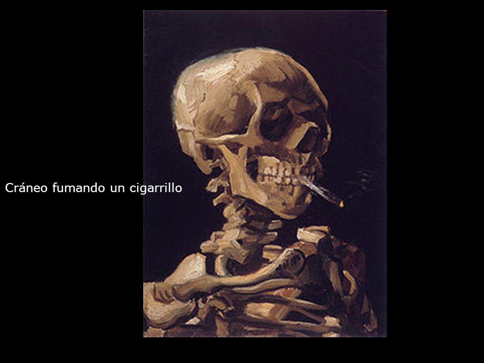 Cráneo fumando un cigarrillo