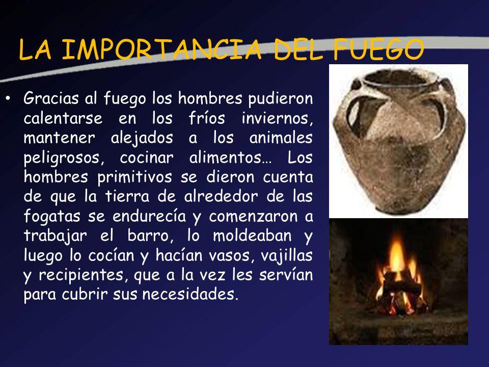 LA IMPORTANCIA DEL FUEGO Gracias al fuego los hombres pudieron calentarse en los fríos inviernos, mantener alejados a los animales peligrosos, cocinar