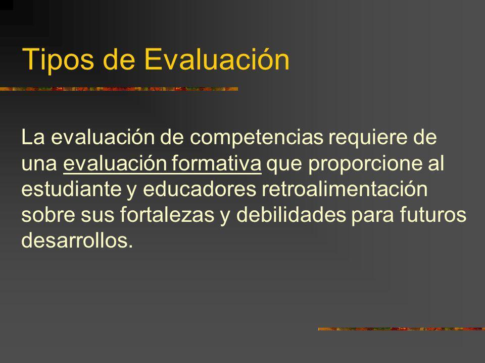 Tipos de Evaluación La evaluación de competencias requiere de una evaluación formativa que proporcione al estudiante y educadores retroalimentación so