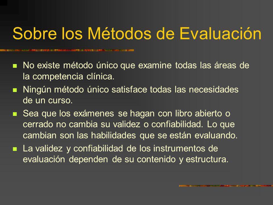 Sobre los Métodos de Evaluación No existe método único que examine todas las áreas de la competencia clínica. Ningún método único satisface todas las