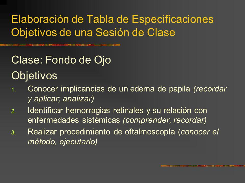 Elaboración de Tabla de Especificaciones Objetivos de una Sesión de Clase Clase: Fondo de Ojo Objetivos 1. Conocer implicancias de un edema de papila