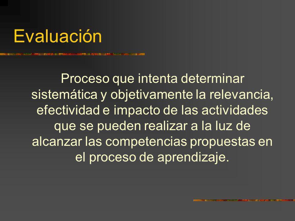Evaluación Proceso que intenta determinar sistemática y objetivamente la relevancia, efectividad e impacto de las actividades que se pueden realizar a