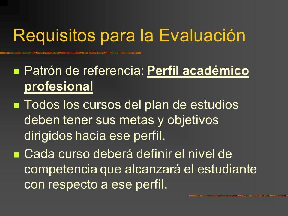 Requisitos para la Evaluación Patrón de referencia: Perfil académico profesional Todos los cursos del plan de estudios deben tener sus metas y objetiv