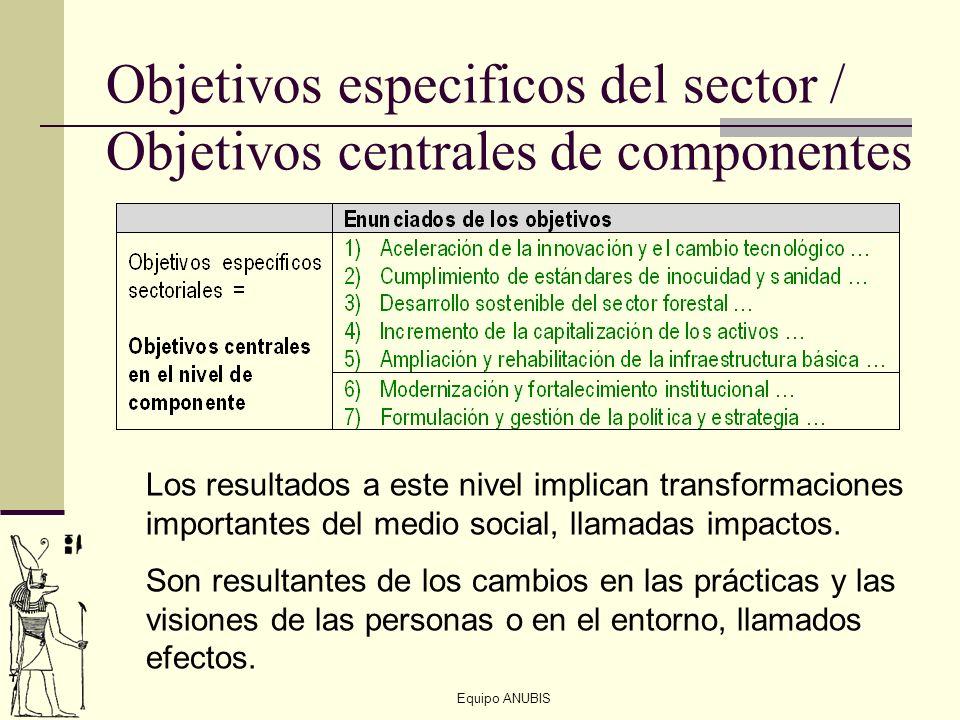 Equipo ANUBIS Objetivos especificos del sector / Objetivos centrales de componentes Los resultados a este nivel implican transformaciones importantes