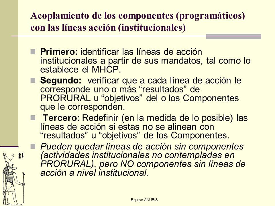 Equipo ANUBIS Acoplamiento de los componentes (programáticos) con las líneas acción (institucionales) Primero: identificar las líneas de acción instit
