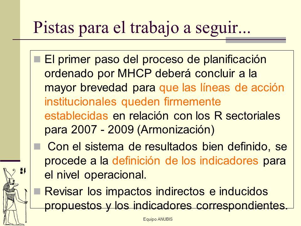 Equipo ANUBIS Pistas para el trabajo a seguir... El primer paso del proceso de planificación ordenado por MHCP deberá concluir a la mayor brevedad par