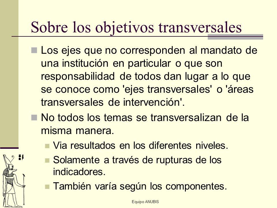 Equipo ANUBIS Sobre los objetivos transversales Los ejes que no corresponden al mandato de una institución en particular o que son responsabilidad de