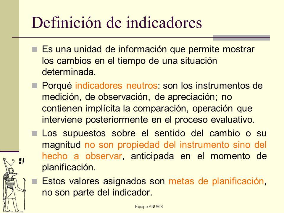 Equipo ANUBIS Definición de indicadores Es una unidad de información que permite mostrar los cambios en el tiempo de una situación determinada. Porqué