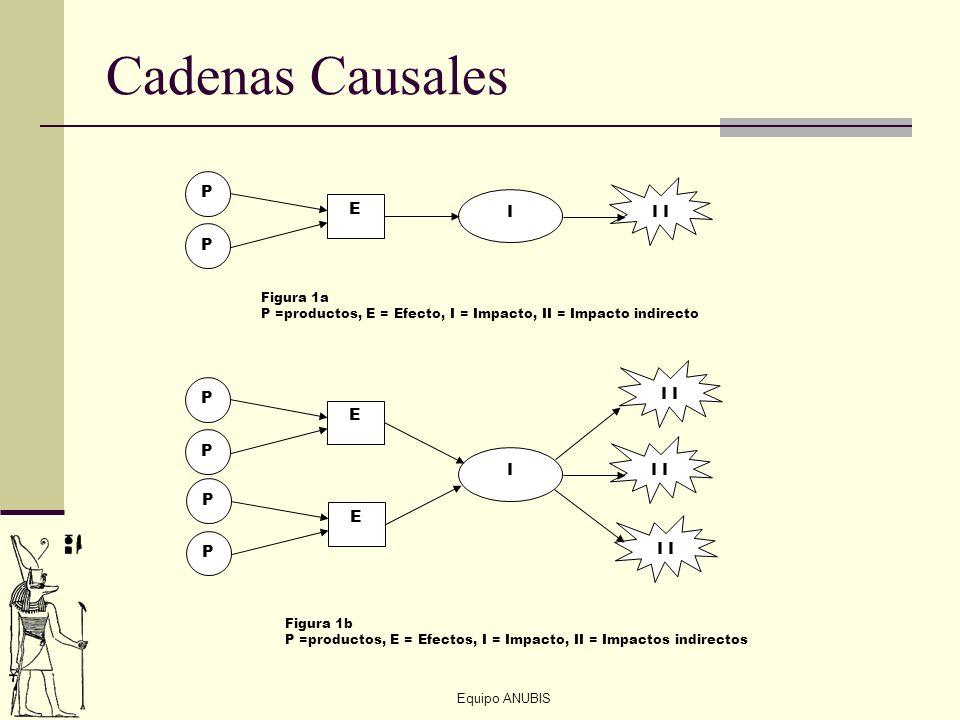 Equipo ANUBIS Cadenas Causales P P E I I P P E I P P E Figura 1a P =productos, E = Efecto, I = Impacto, II = Impacto indirecto Figura 1b P =productos,