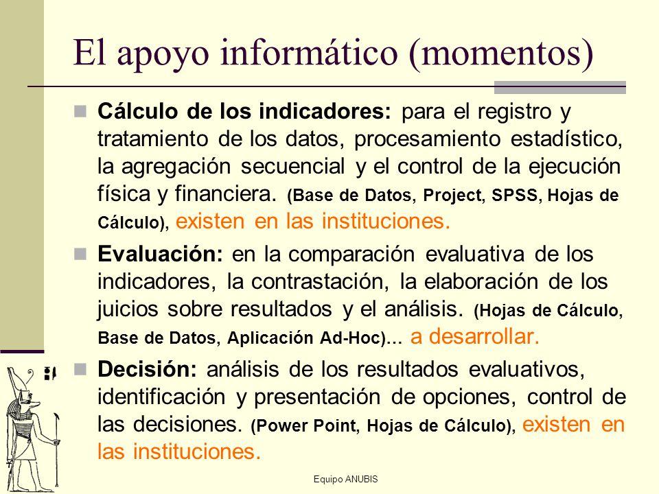 Equipo ANUBIS El apoyo informático (momentos) Cálculo de los indicadores: para el registro y tratamiento de los datos, procesamiento estadístico, la a