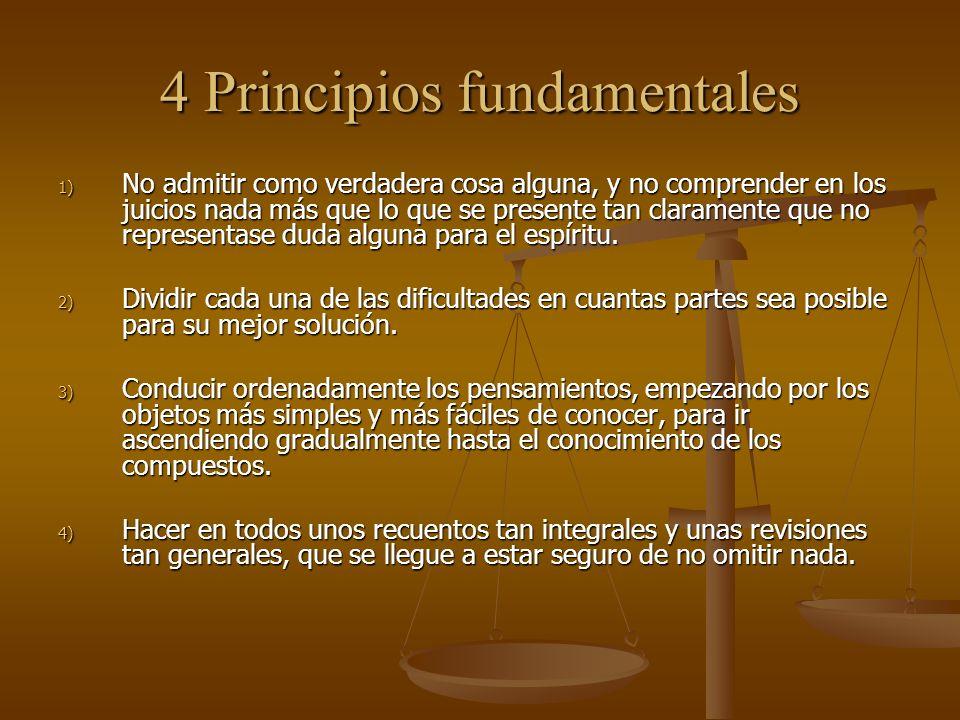 4 Principios fundamentales 1) No admitir como verdadera cosa alguna, y no comprender en los juicios nada más que lo que se presente tan claramente que