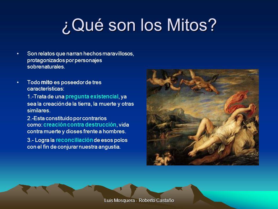 ¿Qué son los Mitos? Son relatos que narran hechos maravillosos, protagonizados por personajes sobrenaturales. Todo mito es poseedor de tres caracterís