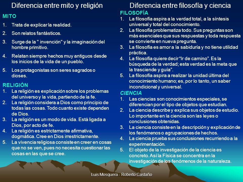 Luis Mosquera - Roberto Castaño Diferencia entre mito y religión MITO 1.Trata de explicar la realidad. 2.Son relatos fantásticos. 3.Surge de la