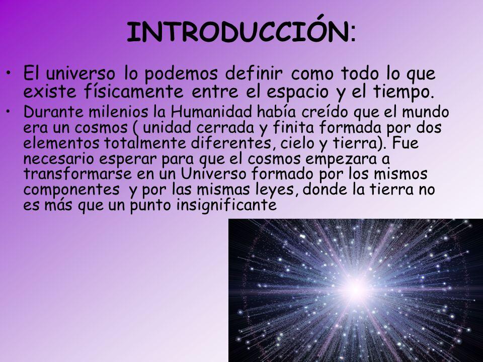 INTRODUCCIÓN : El universo lo podemos definir como todo lo que existe físicamente entre el espacio y el tiempo. Durante milenios la Humanidad había cr