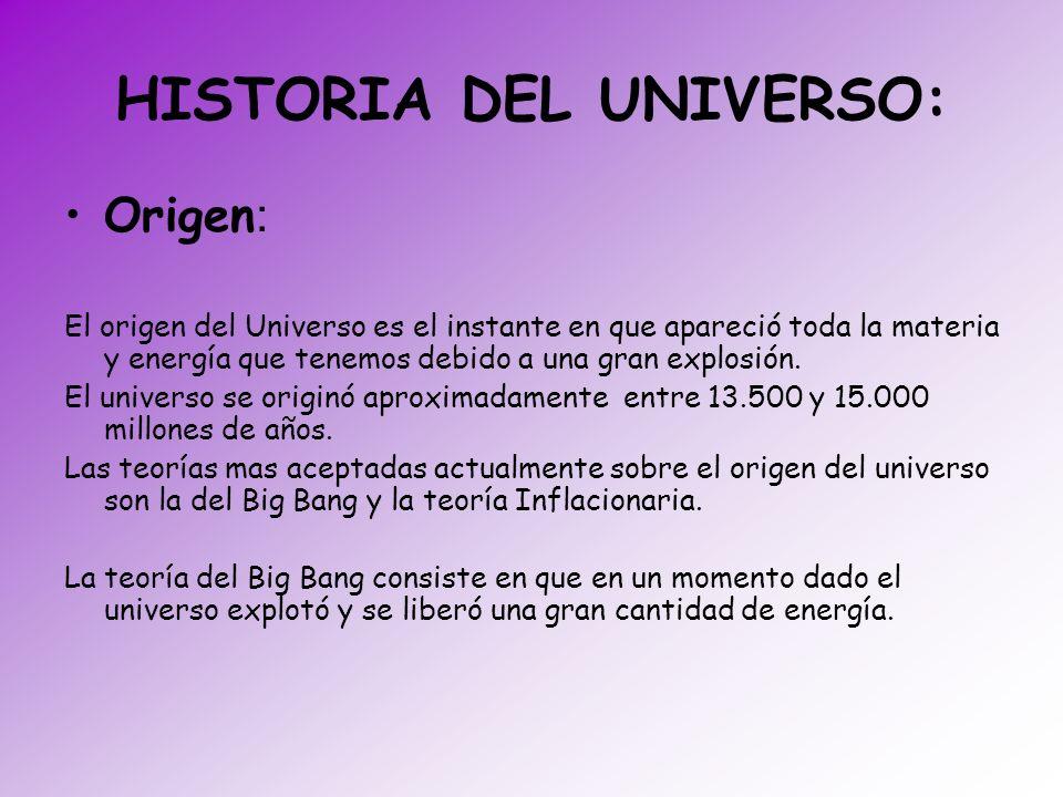 HISTORIA DEL UNIVERSO: Origen : El origen del Universo es el instante en que apareció toda la materia y energía que tenemos debido a una gran explosió