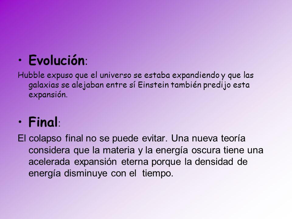 Evolución : Hubble expuso que el universo se estaba expandiendo y que las galaxias se alejaban entre sí Einstein también predijo esta expansión. Final