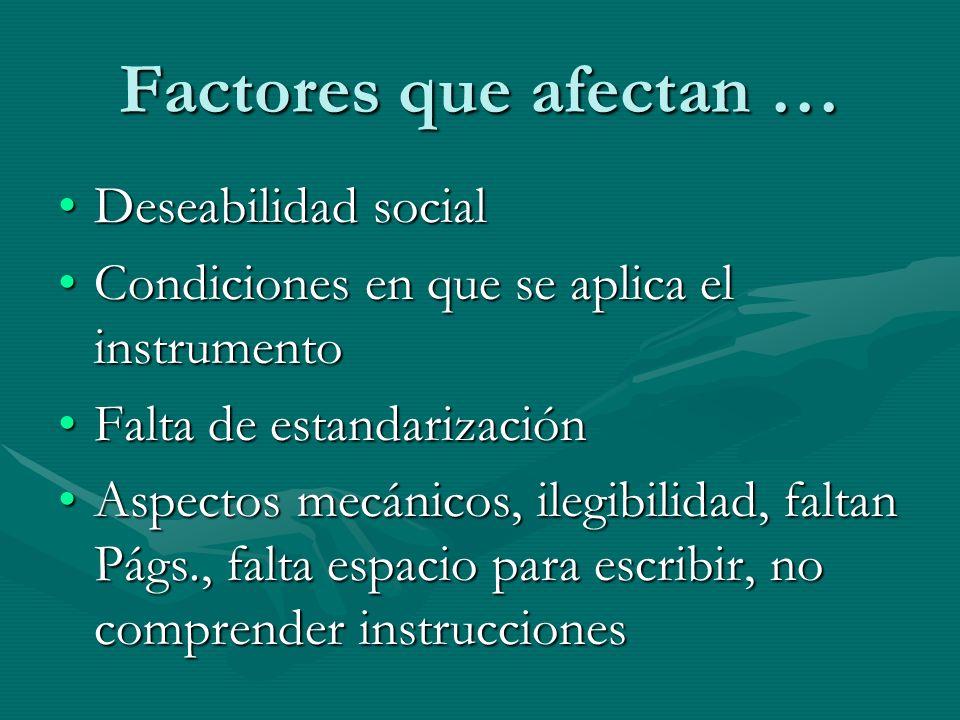 Factores que afectan … Deseabilidad socialDeseabilidad social Condiciones en que se aplica el instrumentoCondiciones en que se aplica el instrumento F