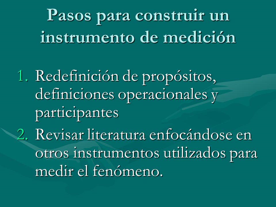 Pasos para construir un instrumento de medición 1.Redefinición de propósitos, definiciones operacionales y participantes 2.Revisar literatura enfocánd