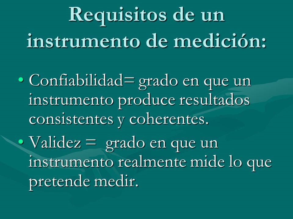 Requisitos de un instrumento de medición: Confiabilidad= grado en que un instrumento produce resultados consistentes y coherentes.Confiabilidad= grado