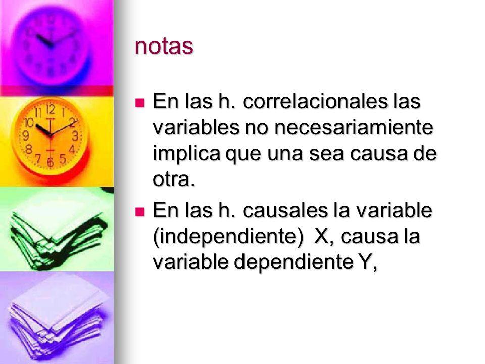 notas En las h. correlacionales las variables no necesariamiente implica que una sea causa de otra. En las h. correlacionales las variables no necesar