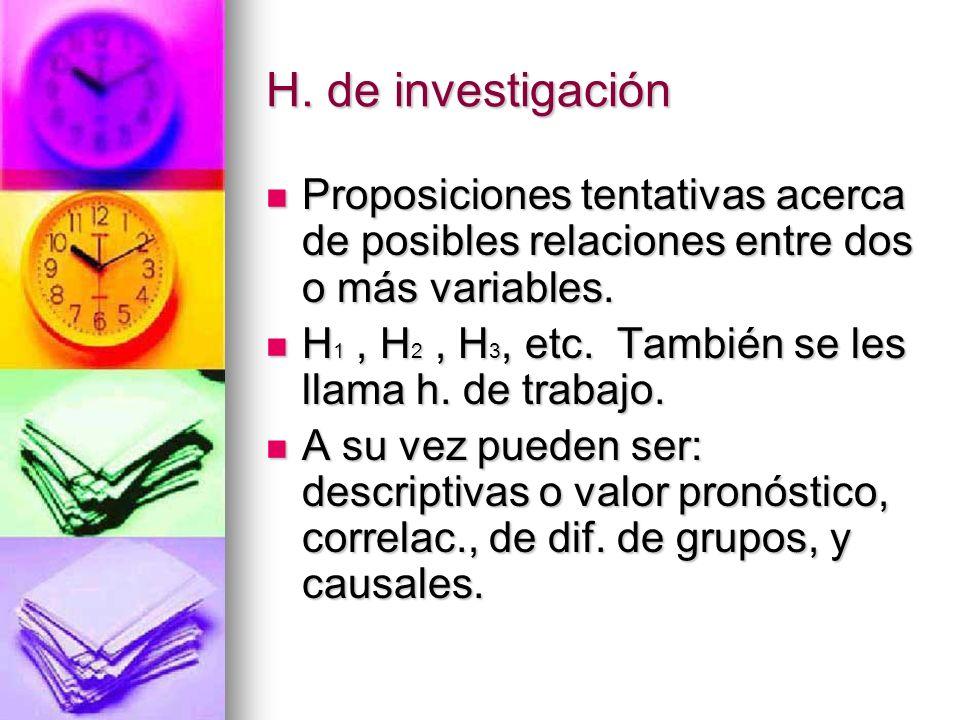 Podemos formular en un estudio varios tipos de H. ?: Sí. Sí.