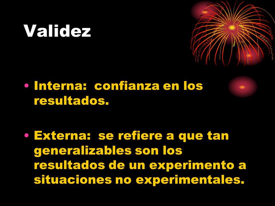 Validez Interna: confianza en los resultados. Externa: se refiere a que tan generalizables son los resultados de un experimento a situaciones no exper