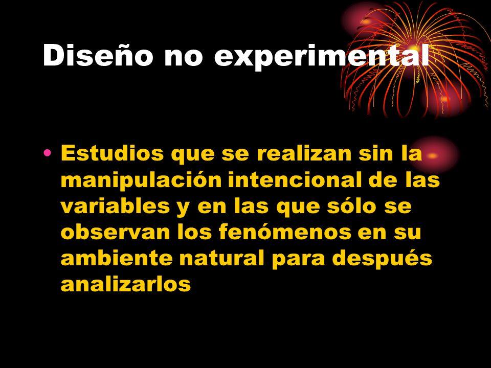 Diseño no experimental Estudios que se realizan sin la manipulación intencional de las variables y en las que sólo se observan los fenómenos en su amb