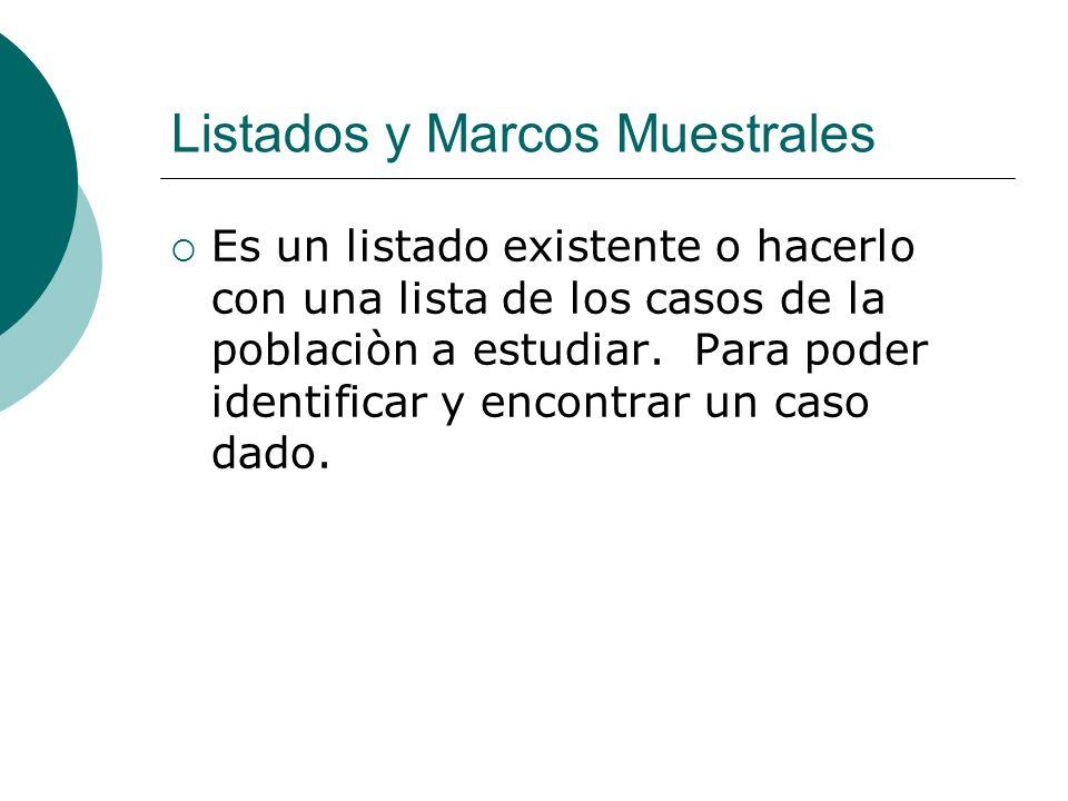Listados y Marcos Muestrales Es un listado existente o hacerlo con una lista de los casos de la poblaciòn a estudiar. Para poder identificar y encontr