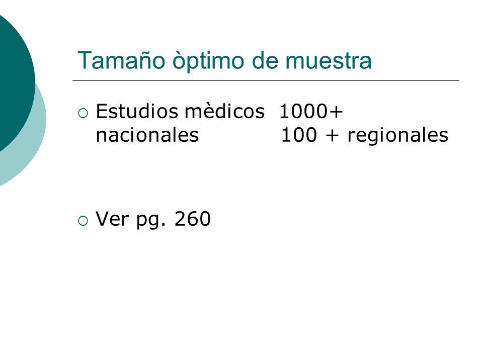 Tamaño òptimo de muestra Estudios mèdicos 1000+ nacionales 100 + regionales Ver pg. 260