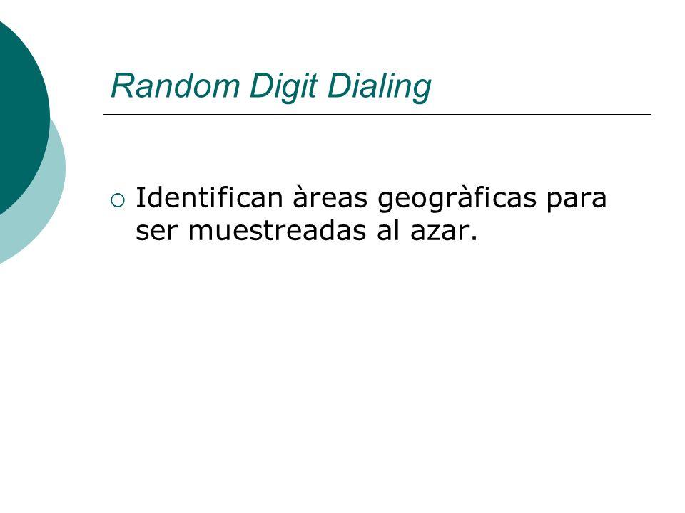 Random Digit Dialing Identifican àreas geogràficas para ser muestreadas al azar.