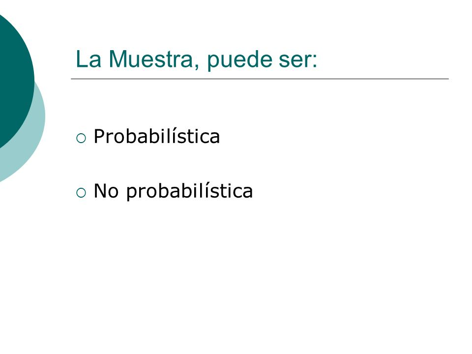 La Muestra, puede ser: Probabilística No probabilística