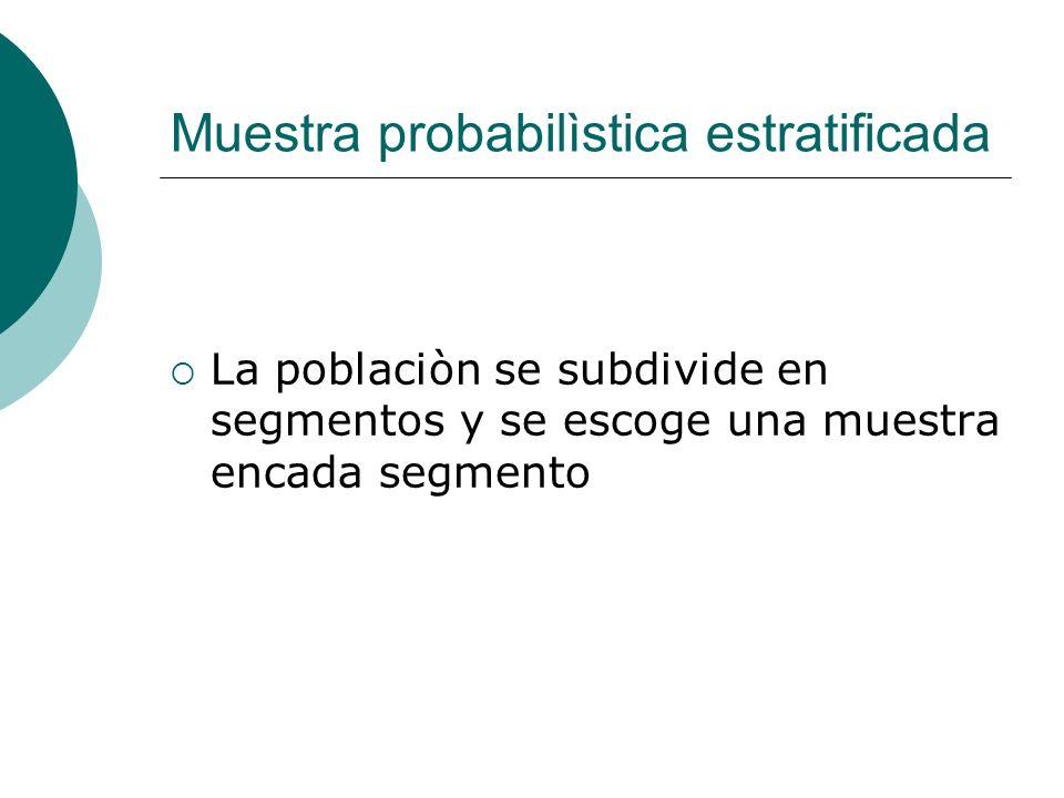 Muestra probabilìstica estratificada La poblaciòn se subdivide en segmentos y se escoge una muestra encada segmento