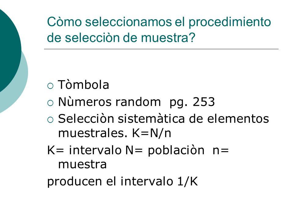 Còmo seleccionamos el procedimiento de selecciòn de muestra? Tòmbola Nùmeros random pg. 253 Selecciòn sistemàtica de elementos muestrales. K=N/n K= in