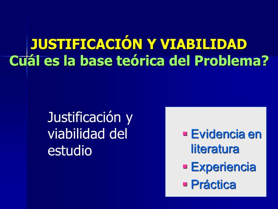 JUSTIFICACIÓN Y VIABILIDAD Cuál es la base teórica del Problema.