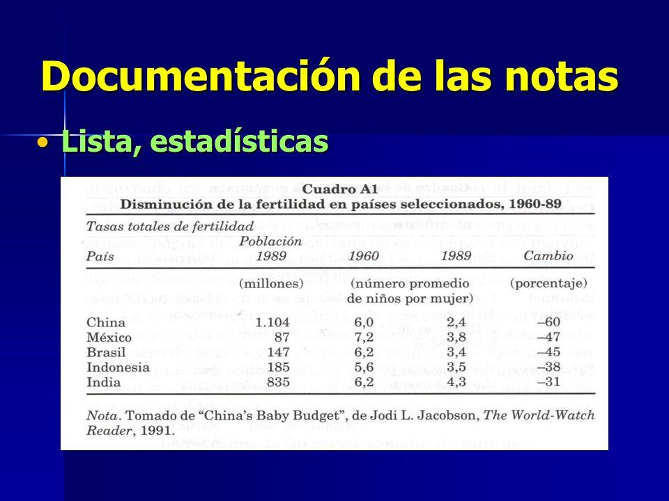 Documentación de las notas Lista, estadísticasLista, estadísticas