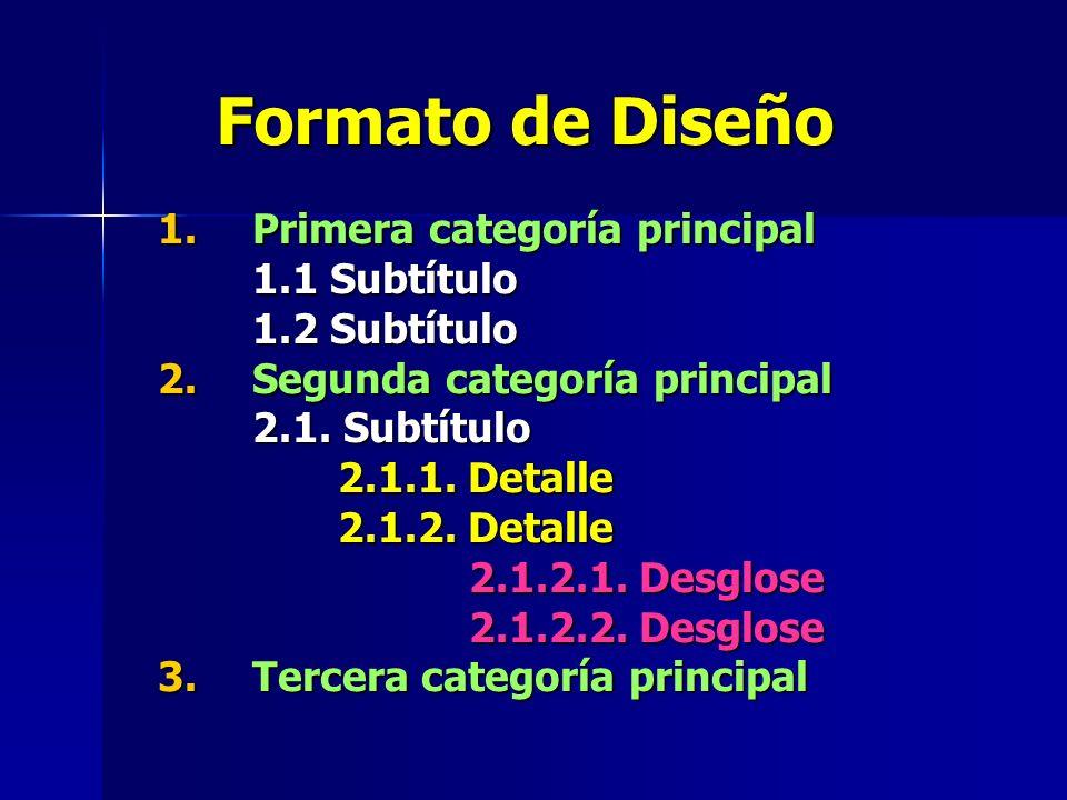 Formato de Diseño 1.Primera categoría principal 1.1 Subtítulo 1.2 Subtítulo 2.Segunda categoría principal 2.1.