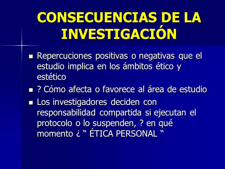 CONSECUENCIAS DE LA INVESTIGACIÓN Repercuciones positivas o negativas que el estudio implica en los ámbitos ético y estético Repercuciones positivas o negativas que el estudio implica en los ámbitos ético y estético .